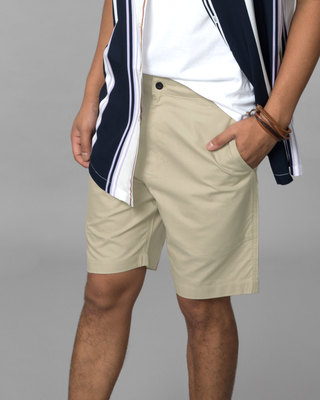 Shop French Beige Lightweight Slim Oxford Shorts-Front