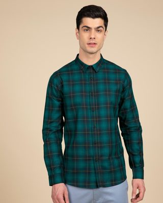 Shop French Cyan Blue Checked Shirt-Front
