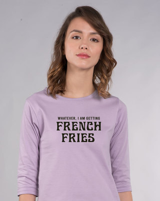 Shop French Fries Round Neck 3/4th Sleeve T-Shirt-Front