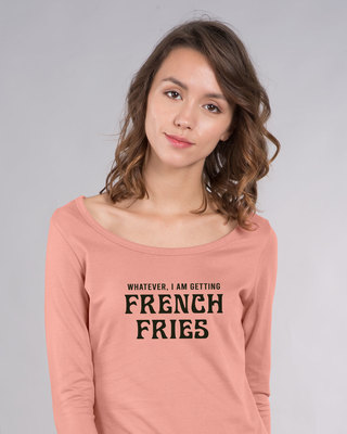 Shop French Fries Scoop Neck Full Sleeve T-Shirt-Front