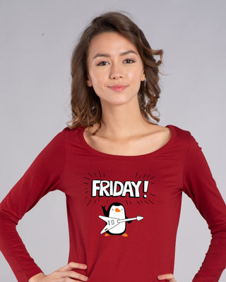Shop Friday Penguin Scoop Neck Full Sleeve T-Shirt-Front