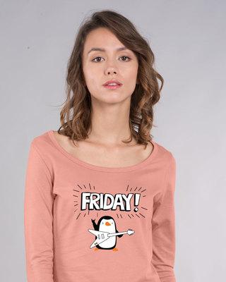 Shop Friday Penguin Scoop Neck Full Sleeve T-Shirt-Front