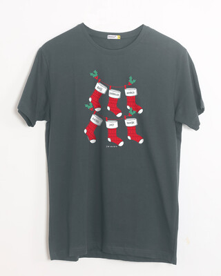 Shop Friends Christmas Socks Half Sleeve T-Shirt (FRL)-Front