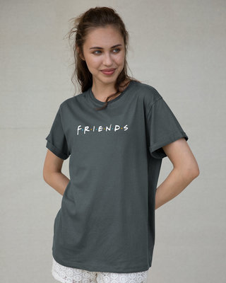 Shop Friends Logo Boyfriend T-Shirt (FRL)-Front