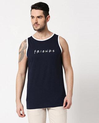 Shop Friends logo FRL Contrast Binding Round Neck Vest Navy Blue-White-Front