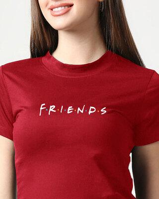 Shop Friends logo (FRL) Women's Printed Red Snug Blouse-Front