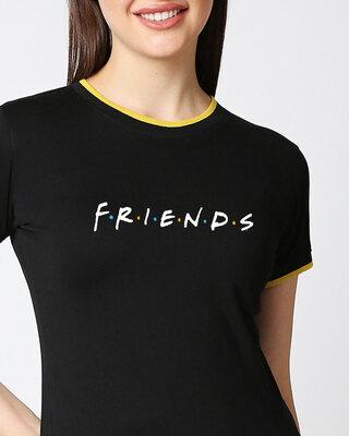 Shop Friends logo Half sleeve Printed Rib T-Shirt (FRL)-Front