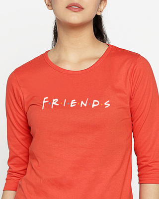 Shop Friends Logo Round Neck 3/4th Sleeve T-Shirt (FRL)-Front