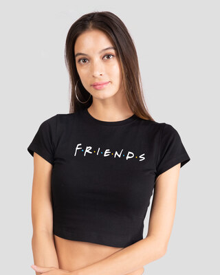 Shop Friends Logo Round Neck Crop Top T-Shirt (FRL)-Front
