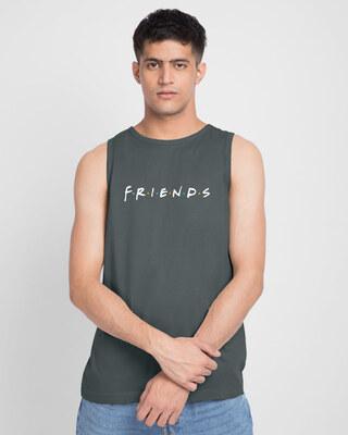 Shop Friends Logo Round Neck Vest (FRL) Nimbus Grey-Front
