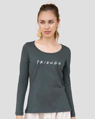 Shop Friends Logo Scoop Neck Full Sleeve T-Shirt (FRL)-Front