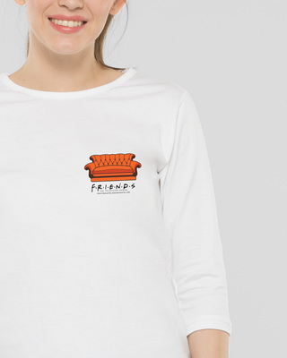 Shop Friends Pocket Sofa Round Neck 3/4th Sleeve T-Shirt (FRL) White-Front