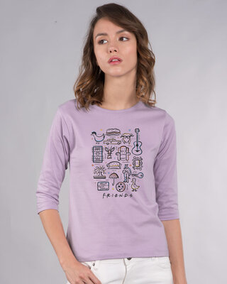 Shop Friends Sketch Doodle 3/4th Sleeve T-Shirt (FRL)-Front