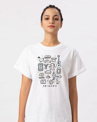 Shop Friends Sketch Doodle Boyfriend T-Shirt (FRL)-Front