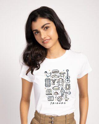 Shop Friends Sketch Doodle Half Sleeve T-Shirt (FRL)-Front