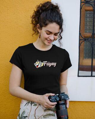 Shop Friyay Tom Half Sleeve T-Shirt (TJL) Black-Front