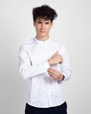Shop Frost White Mandarin Collar Printed Shirt-Front