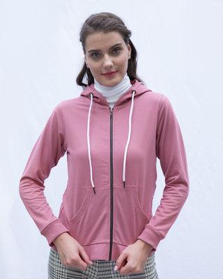 Shop Frosty Pink Fleece Zipper Hoodies-Front
