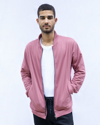 Shop Frosty Pink Zipper Bomber Jacket-Front