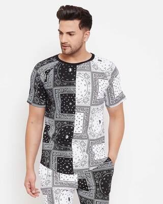 Shop Fugazee 50/50 Paisley Printed Tshirt-Front