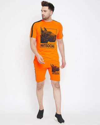 Shop Fugazee Anti Social Taped Tee and Shorts Combo Suit-Front