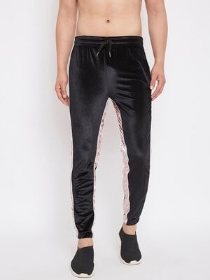 Shop Fugazee Black And Rose Velour Trackpant-Front