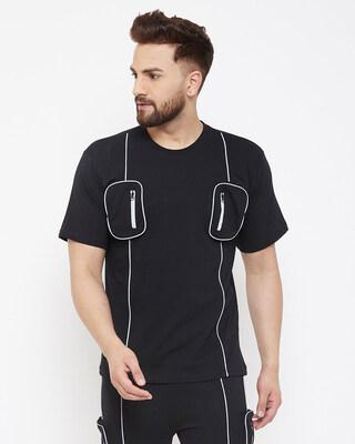Shop Fugazee Black Chest Pocket Reflective Piping Tshirt-Front