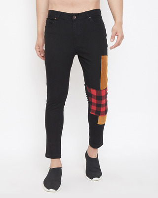Shop Fugazee Black Corduroy and Plaid Patched Denim-Front