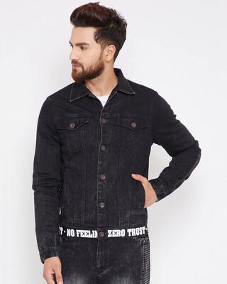 Shop Fugazee Black Denim Taped Jacket-Front