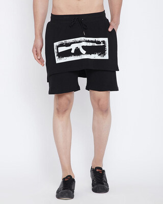 Shop Fugazee Black Layered Shorts-Front