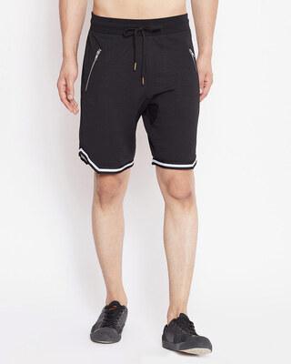 Shop Fugazee Black Mesh Taped Shorts-Front