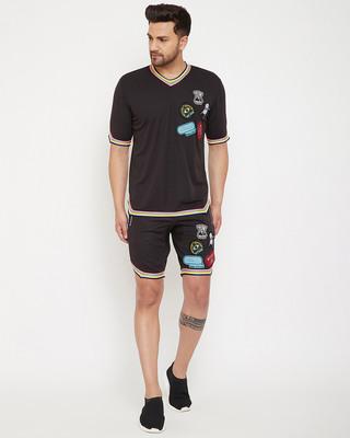 Shop Fugazee Black Mesh Tattooed Rainbow Taped Tshirt and Shorts Combo Set-Front