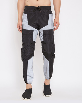 Shop Fugazee Black Nylon Reflective Cargo Light Weight Joggers-Front