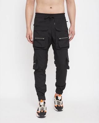 Shop Fugazee Black Nylon Zipped Cargo Pocket Trackpant-Front