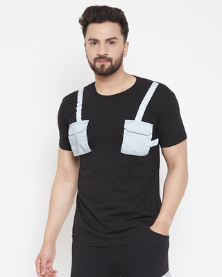Shop Fugazee Black Reflective Chest Pocket Taped Tshirt-Front