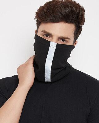 Shop Fugazee Black Reflective Ribbed Face Cover-Front