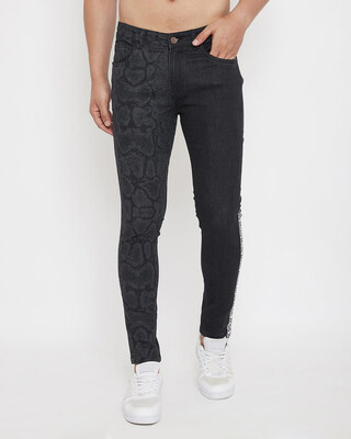 Shop Fugazee Black Snake Lasered Taped Denim-Front