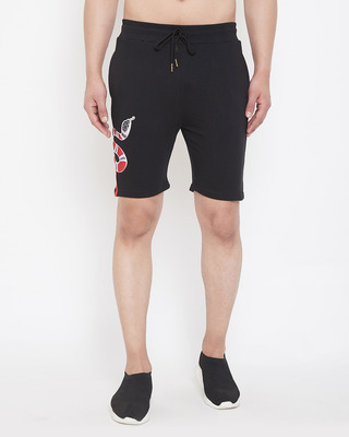 Shop Fugazee Black Snake Patch Taped Shorts-Front