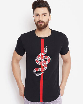 Shop Fugazee Black Snake Patched Tee-Front