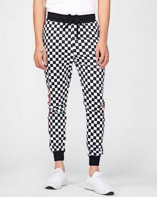 Shop Fugazee Checkered Print Taped Joggers-Front