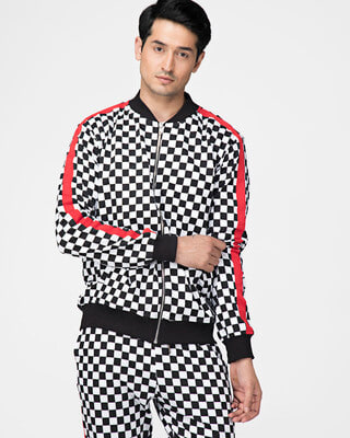 Shop Fugazee Checkered Print Taped Sweatshirt-Front