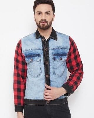 Shop Fugazee Denim Jacket With Checkered Flanel Sleeves-Front