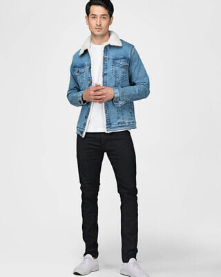 Shop Fugazee Faux Fur Denim Jacket-Front