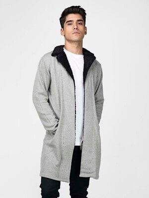 Shop Fugazee Grey Faux Collar Coat Style Shrug-Front