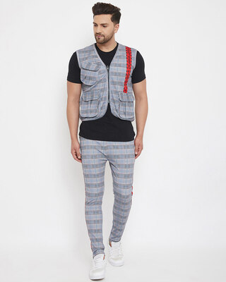 Shop Fugazee Grey Plaid Radioactive Tape Gillet and Trackpants Combo Set-Front