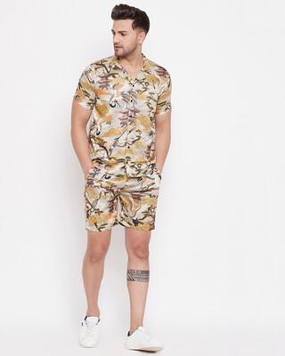 Shop Fugazee Kyoto Oriental Printed Cuban Shirt and Shorts Combo Set-Front