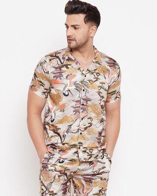 Shop Fugazee Kyoto Oriental Printed Cuban Shirt-Front