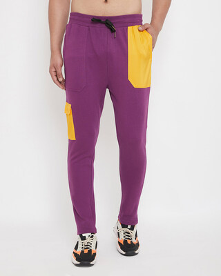 Shop Fugazee Lilac Yellow Patched Trackpants-Front