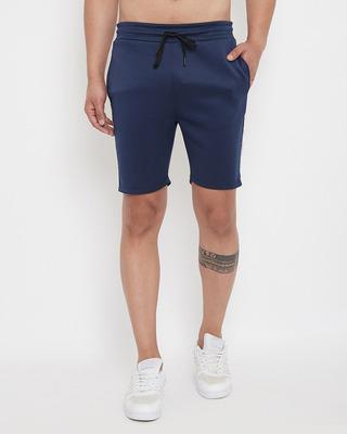 Shop Fugazee Navy Scuba Velour Shorts-Front