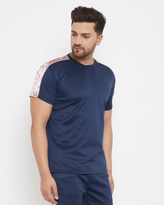 Shop Fugazee Navy Scuba Velour Taped Tshirt-Front